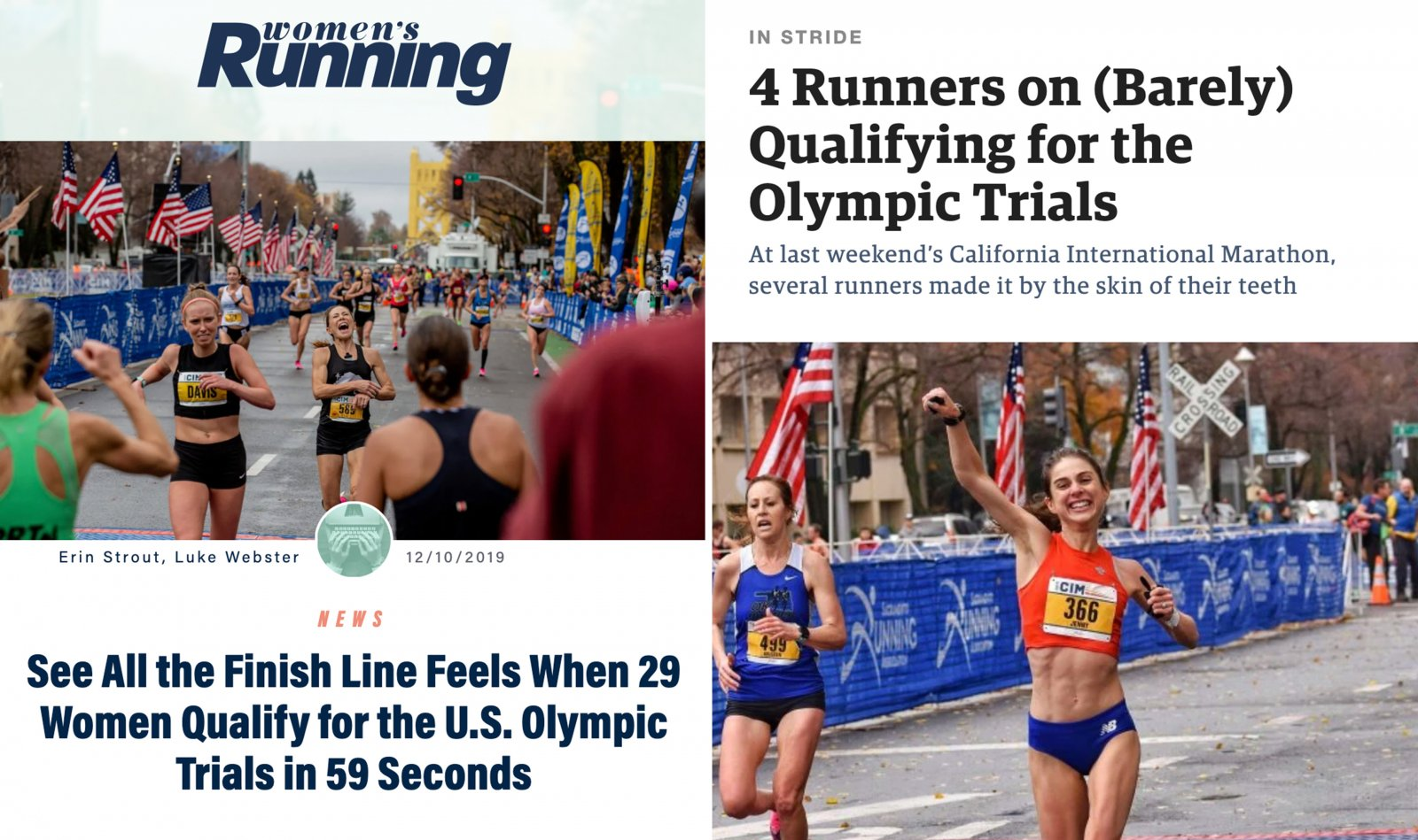 article headlines about the women who barely qualified for the olympic trials
